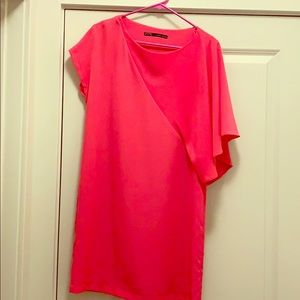 Hot pink off the shoulder dress